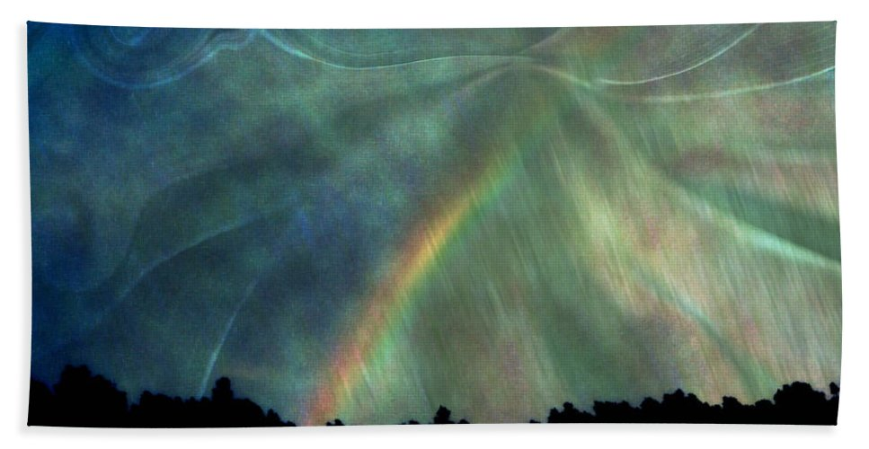 Nature Hand Towel featuring the photograph Rainbow Showers by Linda Sannuti