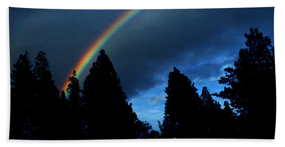 Rainbow Bath Towel featuring the photograph Rainbow Sky by Peter Piatt