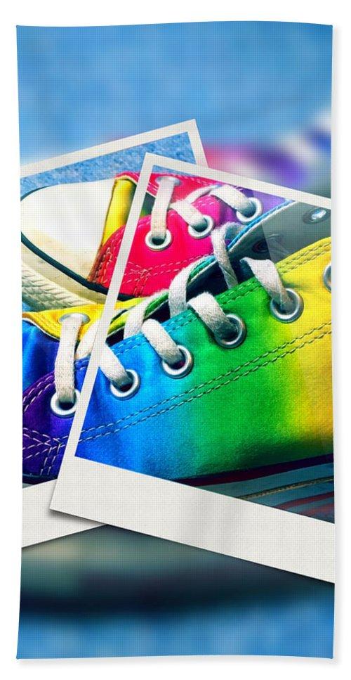 Rainbow Bath Sheet featuring the digital art Rainbow Sneakers One by Mo Barton