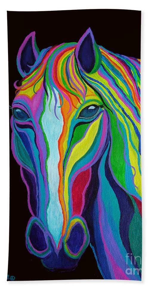 Horse Hand Towel featuring the painting Rainbow Stallion by Nick Gustafson