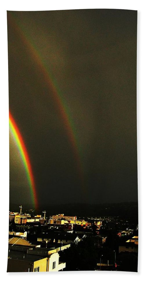 Seattle Bath Towel featuring the photograph Rainbow by Tim Allen