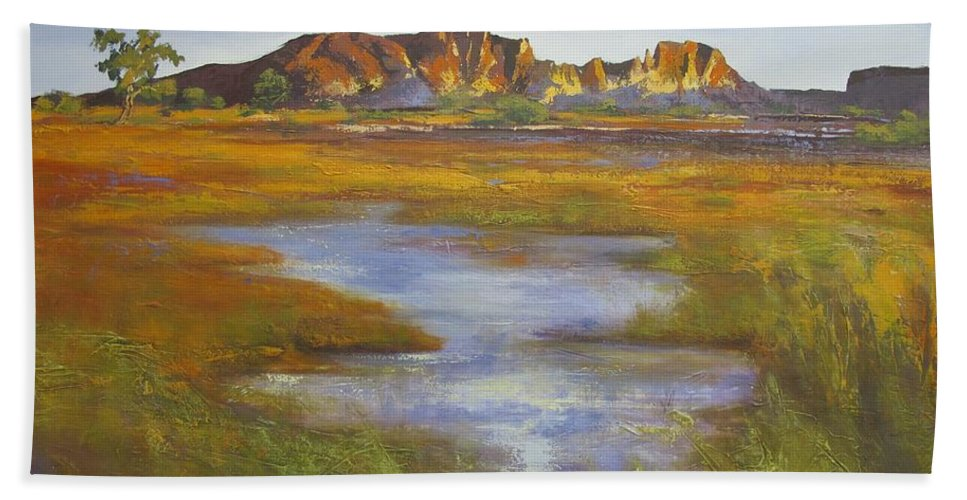 Australian Landscape Bath Sheet featuring the painting Rainbow Valley Northern Territory Australia by Chris Hobel