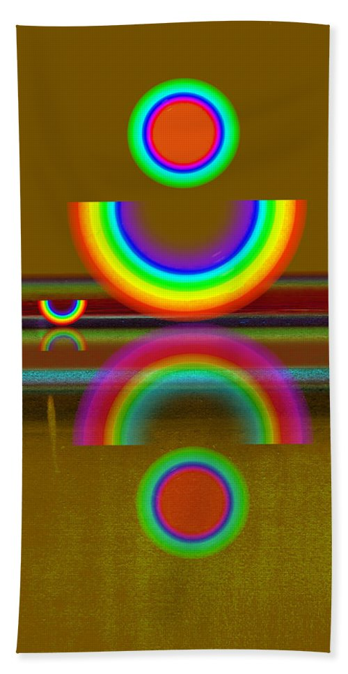 Reflections Hand Towel featuring the painting Rainbow Warrior by Charles Stuart