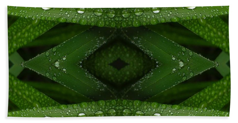 Nature Hand Towel featuring the digital art Raindrops On Green Leaves Collage by Carol Groenen