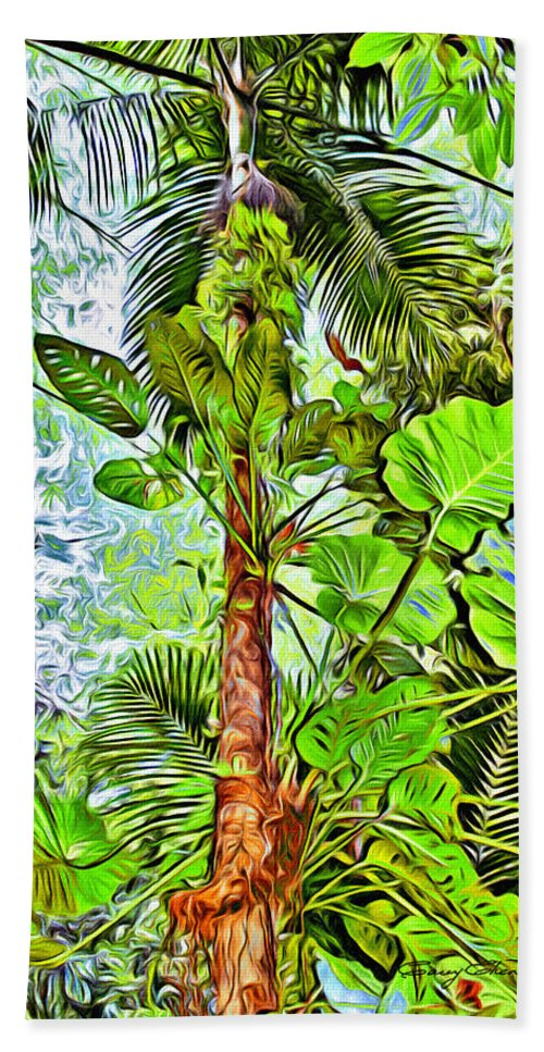 Tobago Hand Towel featuring the digital art Rainforest Green by Anthony C Chen