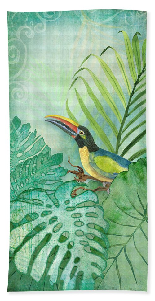 Toucan Bath Towel featuring the painting Rainforest Tropical - Tropical Toucan w Philodendron Elephant Ear and Palm Leaves by Audrey Jeanne Roberts