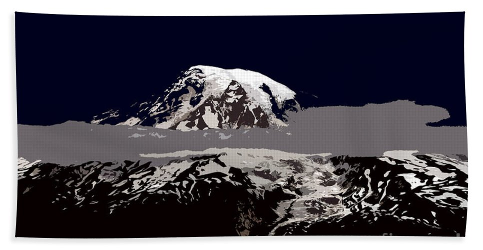 Mt Rainier Bath Towel featuring the painting Rainier by David Lee Thompson