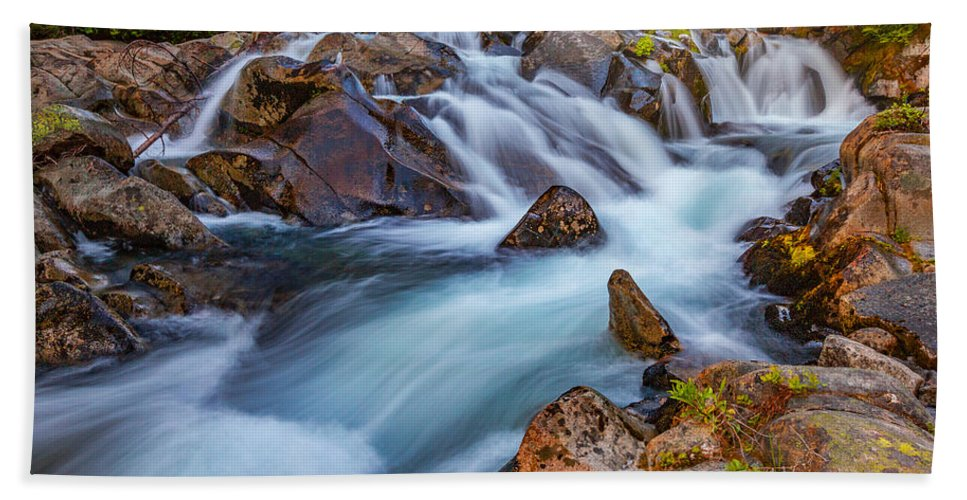 Waterfall Bath Towel featuring the photograph Rainier Runoff by Darren White