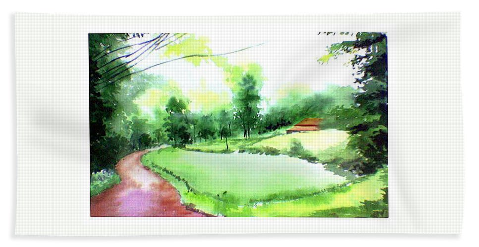 Landscape Bath Towel featuring the painting Rains In West by Anil Nene