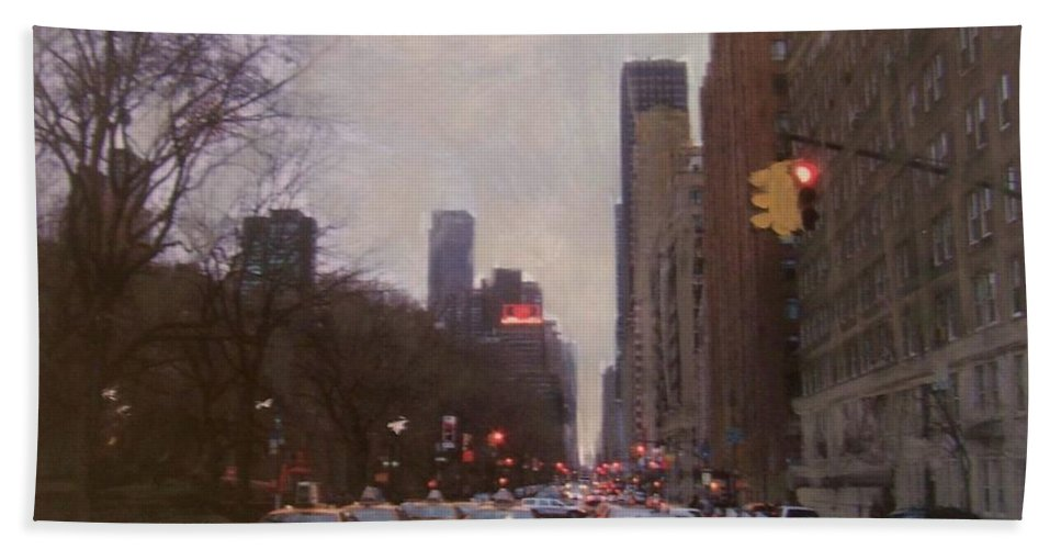 Rain Hand Towel featuring the painting Rainy City Street by Anita Burgermeister
