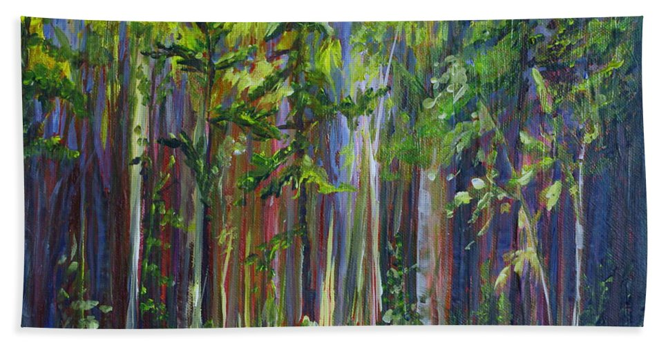 Forest Bath Sheet featuring the painting Rainy Day At Nutimik Lake by Joanne Smoley
