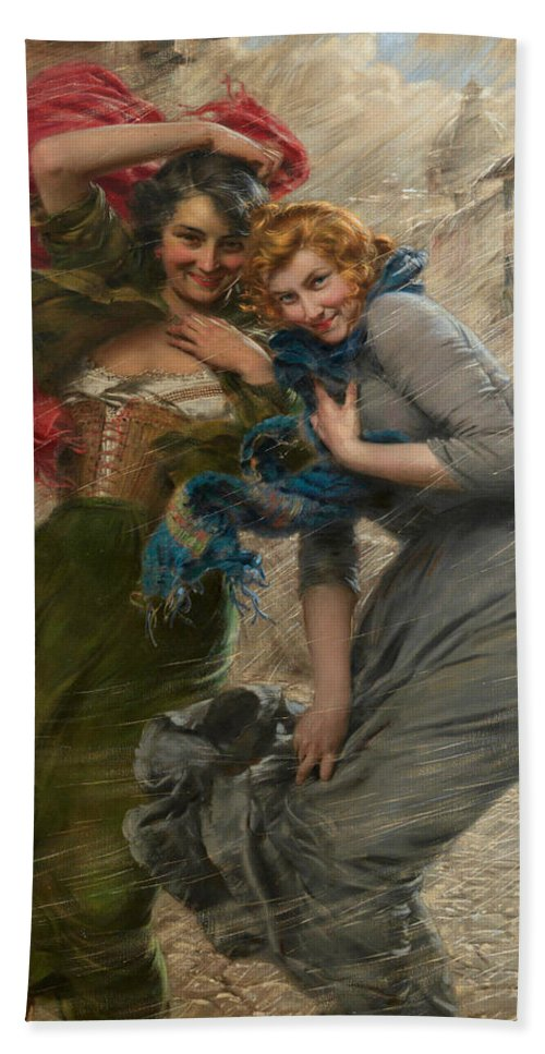 Italian Art Hand Towel featuring the painting Rainy Day by Gaetano Bellei