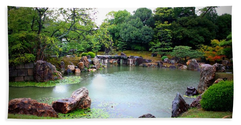 Japan Bath Sheet featuring the photograph Rainy Day In Kyoto Palace Garden by Carol Groenen