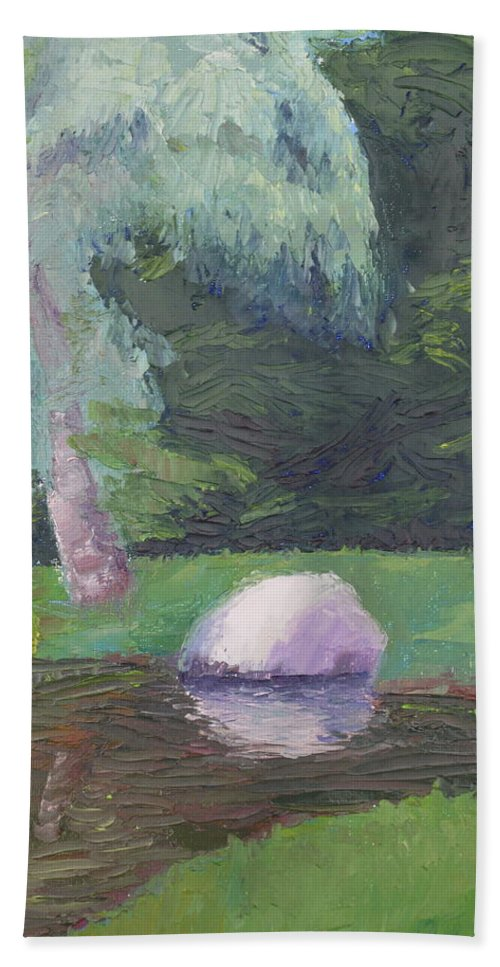 Landscape Painting Hand Towel featuring the painting Rainy Day by Lea Novak
