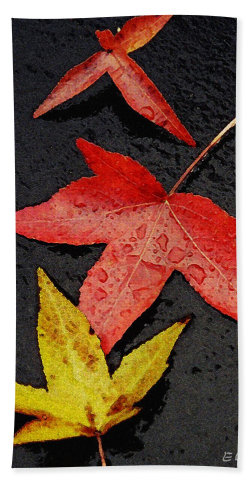 Autumn Bath Sheet featuring the photograph Rainy Day Trio by Ed A Gage