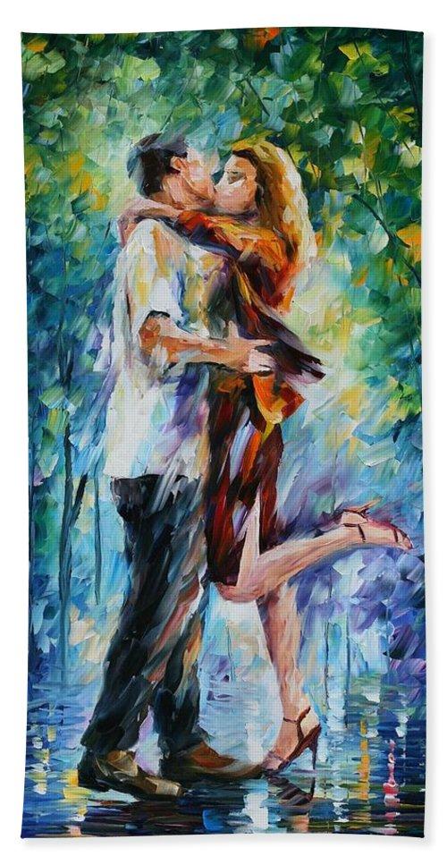 Afremov Bath Sheet featuring the painting Rainy Kiss by Leonid Afremov