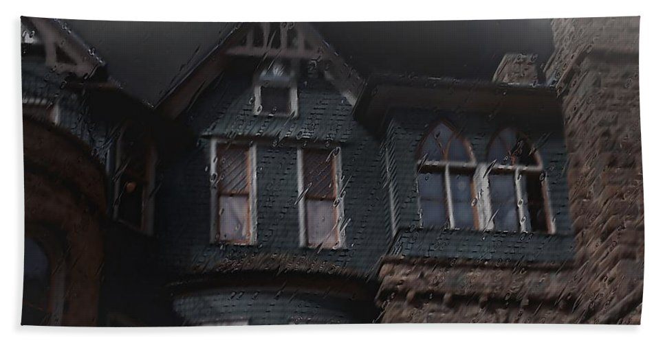 Clouds Hand Towel featuring the painting Rainy Night House by RC DeWinter