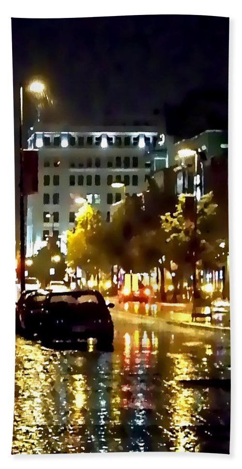 Lauren Radke Bath Sheet featuring the photograph Rainy Night In Green Bay by Lauren Radke
