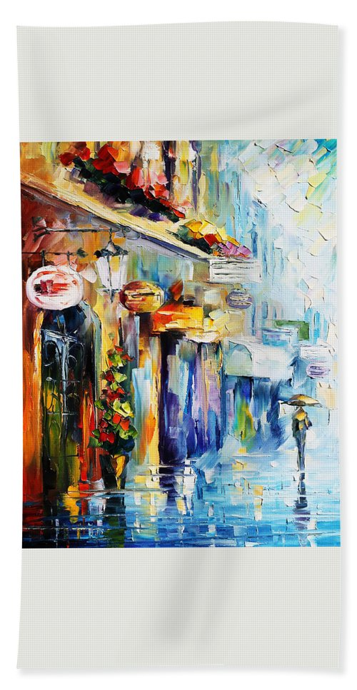 Afremov Hand Towel featuring the painting Rainy Stroll by Leonid Afremov