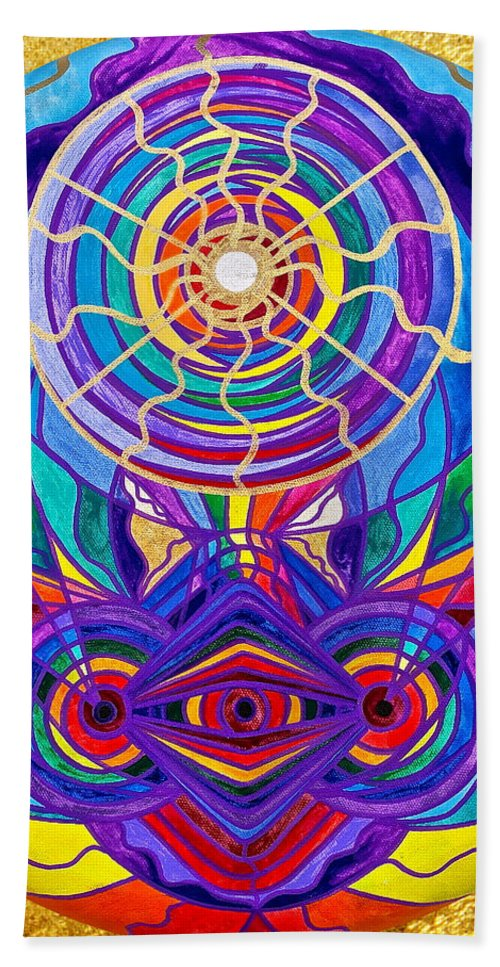 Vibration Bath Towel featuring the painting Raise Your Vibration by Teal Eye Print Store