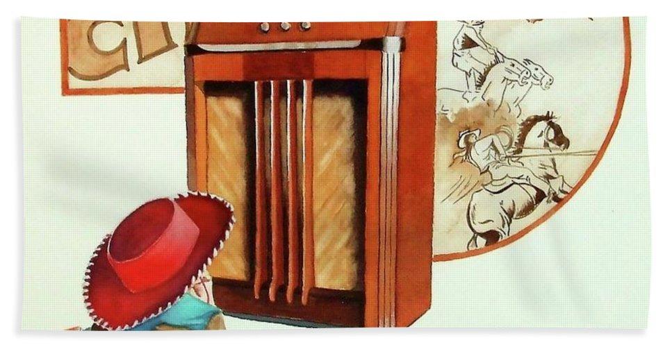 Radio Bath Sheet featuring the painting Raised On The Radio 2 by Greg and Linda Halom