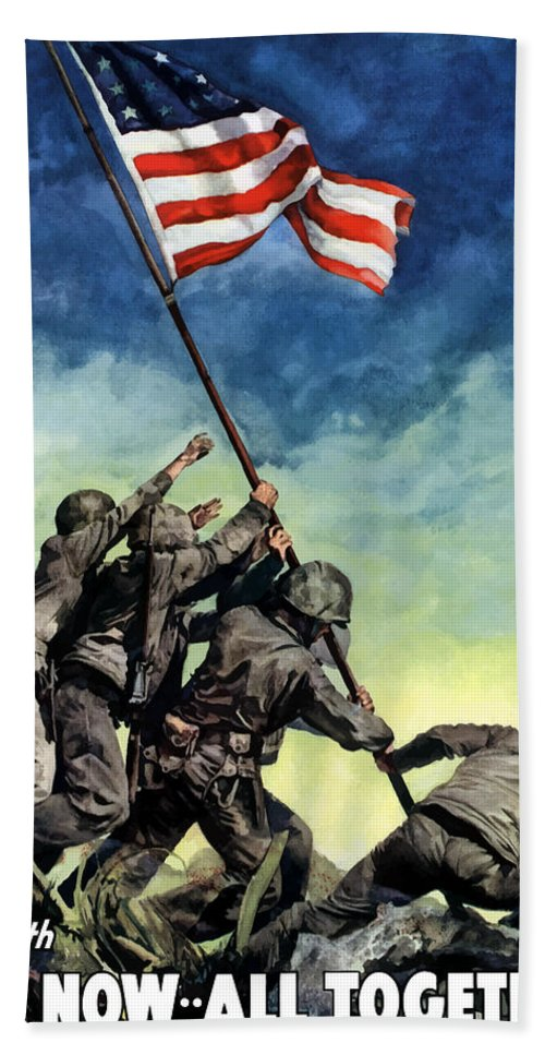 Iwo Jima Bath Towel featuring the painting Raising The Flag On Iwo Jima by War Is Hell Store