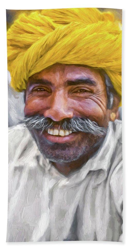 Steve Harrington Bath Sheet featuring the photograph Rajput High School Teacher - Paint by Steve Harrington