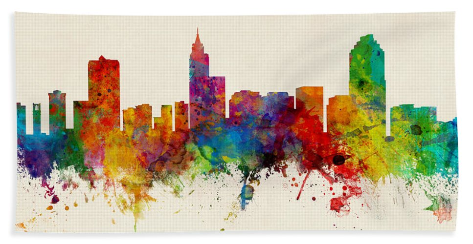 Watercolor Art Print Of The Skyline Of Raleigh Hand Towel featuring the digital art Raleigh North Carolina Skyline Panoramic by Michael Tompsett