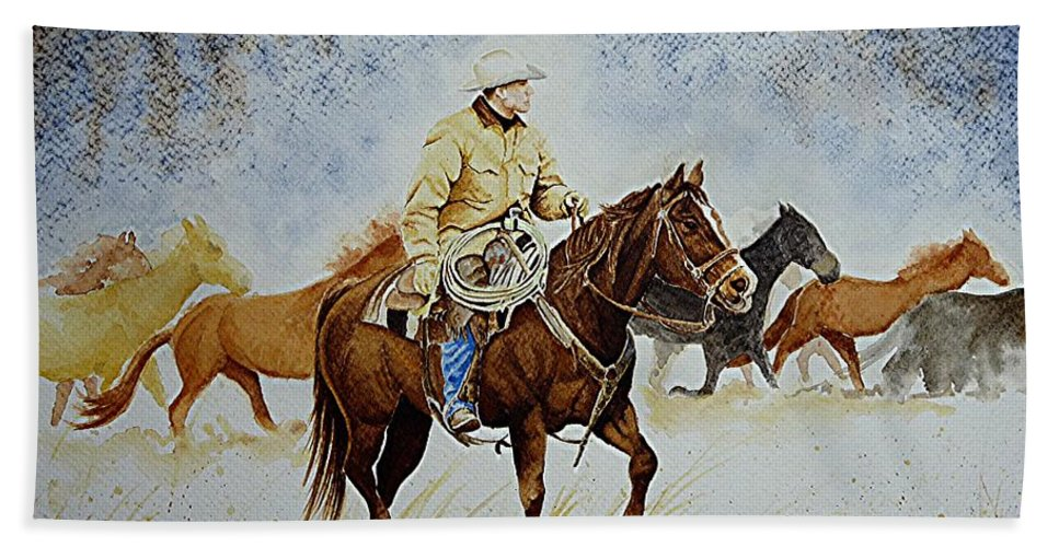 Art Bath Sheet featuring the painting Ranch Rider by Jimmy Smith