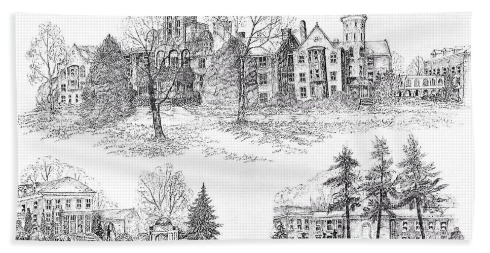 Illustrations Hand Towel featuring the digital art Randolph Macon College by Jessica Bryant