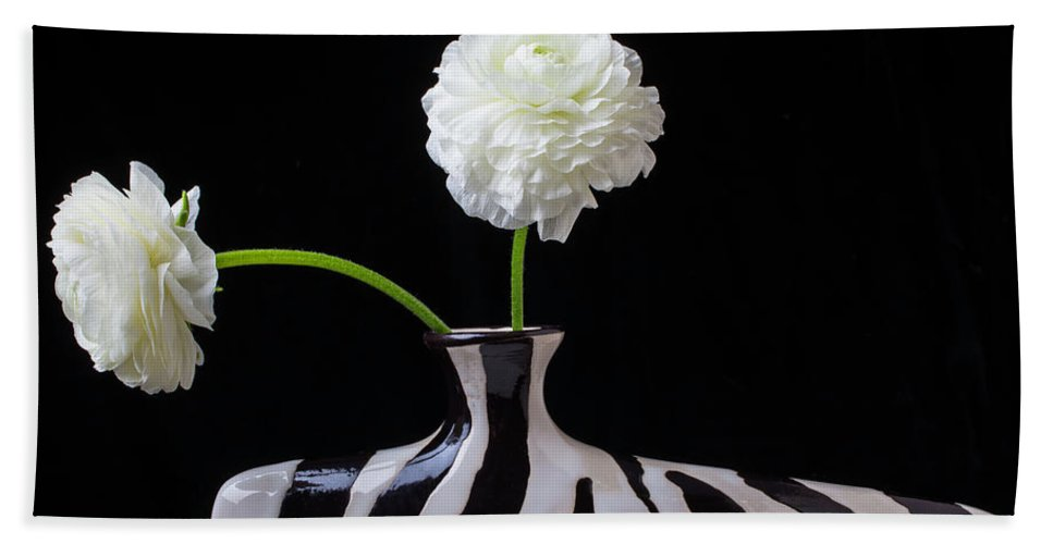 Ranunculus Bath Sheet featuring the photograph Ranunculus In Black And Whie Vase by Garry Gay