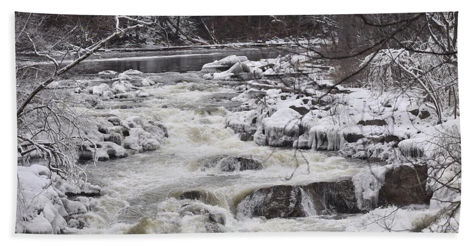 Bulls Hand Towel featuring the photograph Rapids At Bull's Bridge 1 by Nina Kindred
