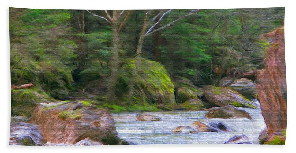 River Hand Towel featuring the painting Rapids At The Rivers Bend by Jeffrey Kolker