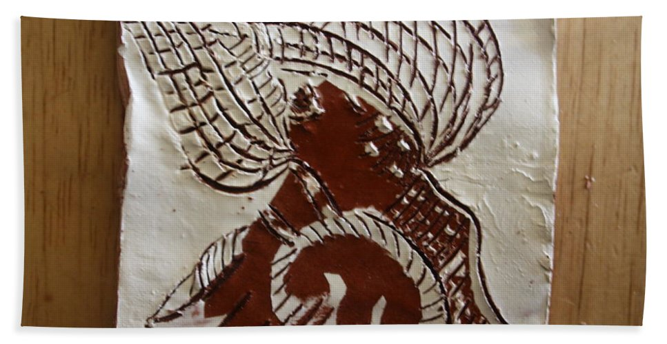 Jesus Bath Sheet featuring the ceramic art Rapture - Tile by Gloria Ssali