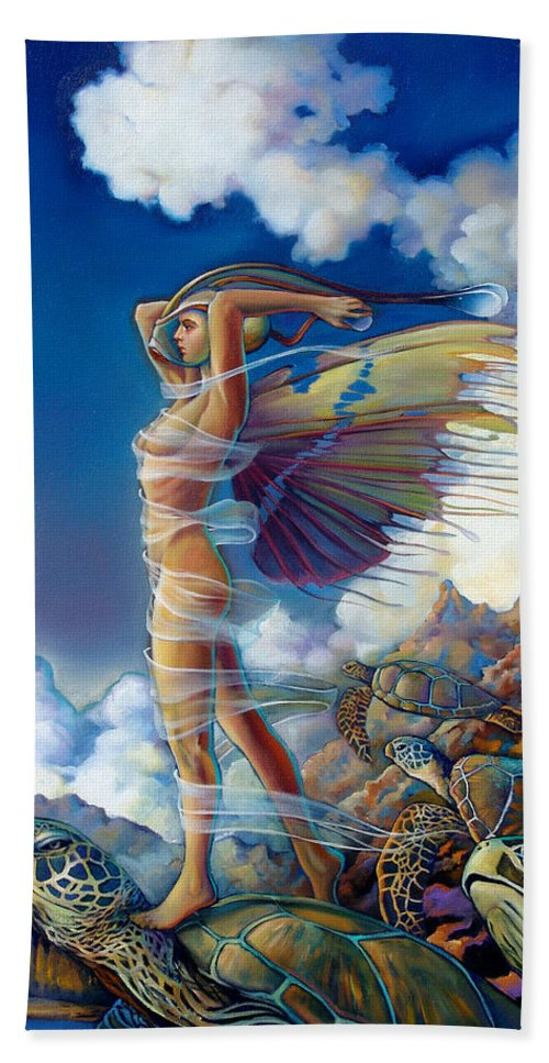 Mermaid Bath Towel featuring the painting Rapture And The Ecstasea by Patrick Anthony Pierson