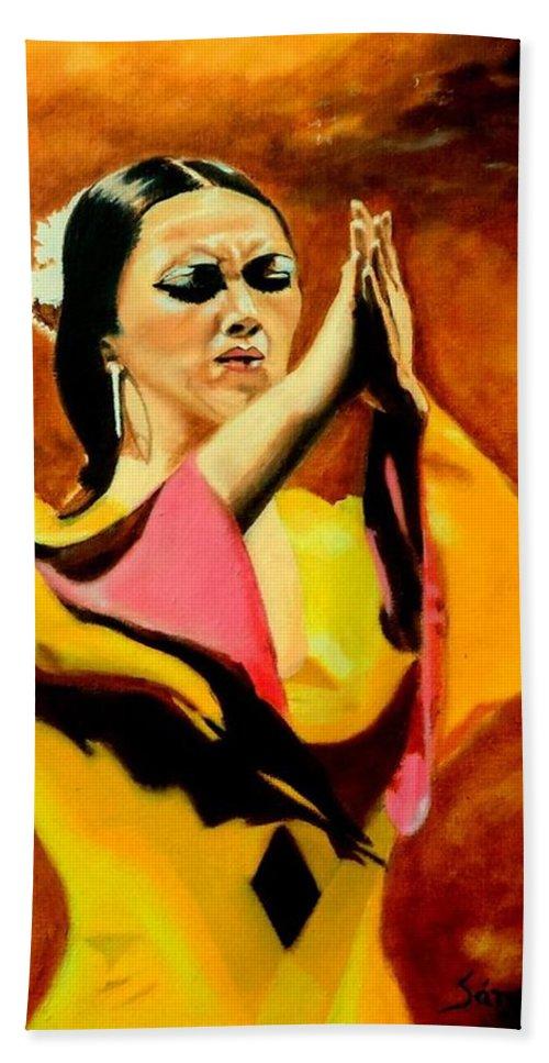 Flamenco Dancer Bath Sheet featuring the painting Raquel Heredia - Flamenco Dancer Sold by Manuel Sanchez