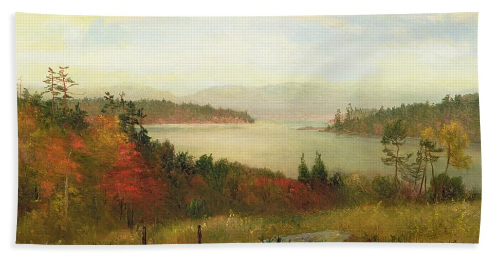 Raquette Lake Bath Sheet featuring the painting Raquette Lake by Homer Dodge Martin