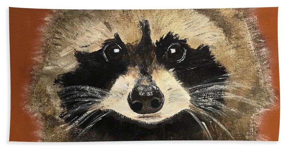 Racoon Bath Sheet featuring the painting Rascal by Kathi Schwan