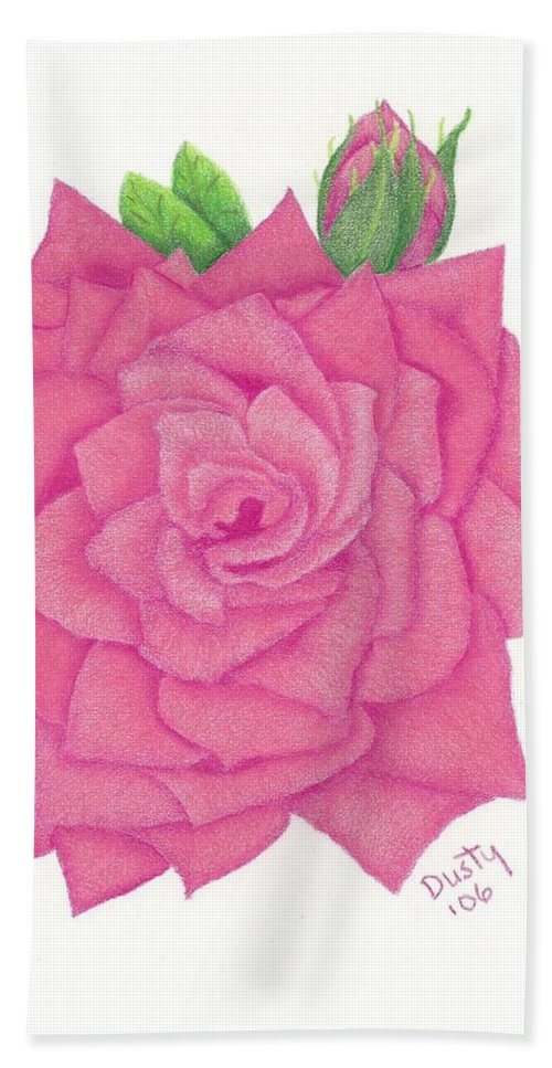 Rose Hand Towel featuring the drawing Raspberry Pink by Dusty Reed