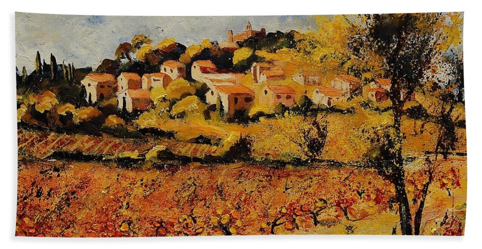 Provence Hand Towel featuring the painting Rasteau Vaucluse by Pol Ledent