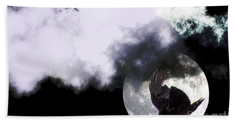 Clay Bath Towel featuring the photograph Raven Moon by Clayton Bruster