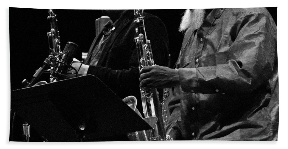 Jazz Bath Sheet featuring the photograph Ravi Coltrane And Pharoah Sanders 8 by Lee Santa