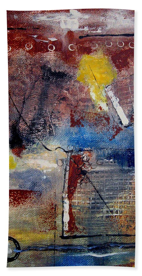 Abstract Hand Towel featuring the painting Raw Emotions II by Ruth Palmer