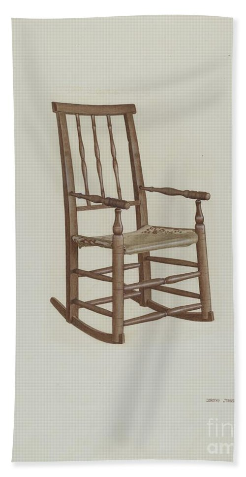Hand Towel featuring the drawing Raw Hide Bottom Rocker by Dorothy Johnson