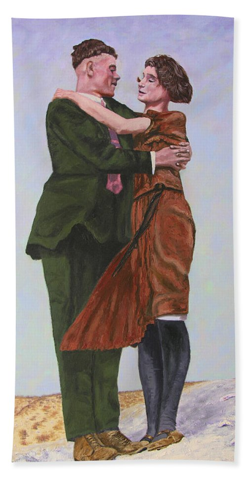 Double Portrait Bath Towel featuring the painting Ray And Isabel by Stan Hamilton