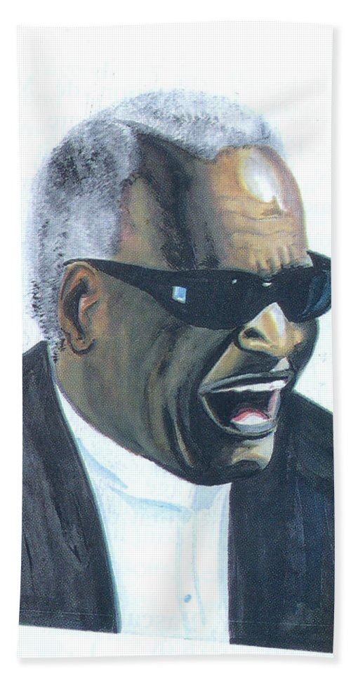 Music Hand Towel featuring the painting Ray Charles by Emmanuel Baliyanga