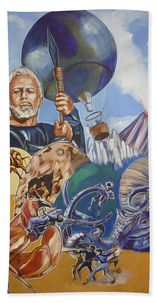 Mysterious Island Bath Towel featuring the painting Ray Harryhausen Tribute The Mysterious Island by Bryan Bustard