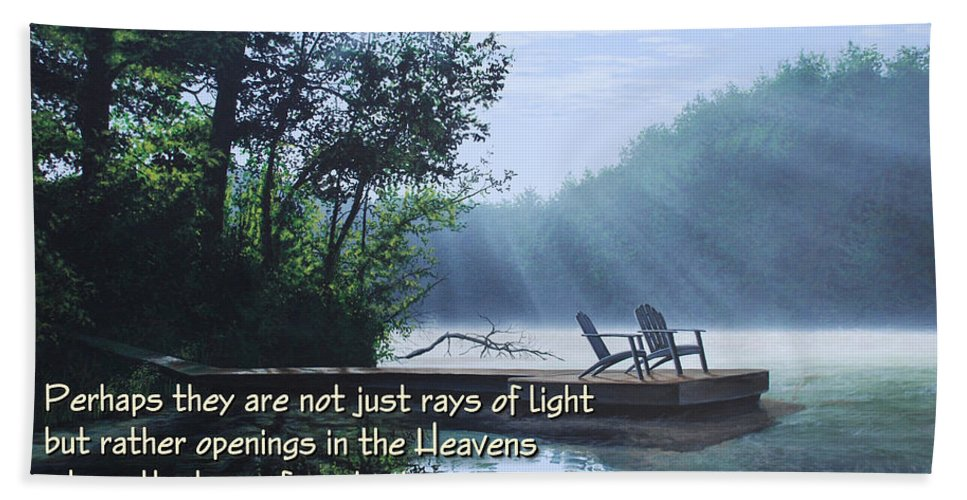 Memorial Hand Towel featuring the painting Rays Of Light - Place To Ponder by Anthony J Padgett