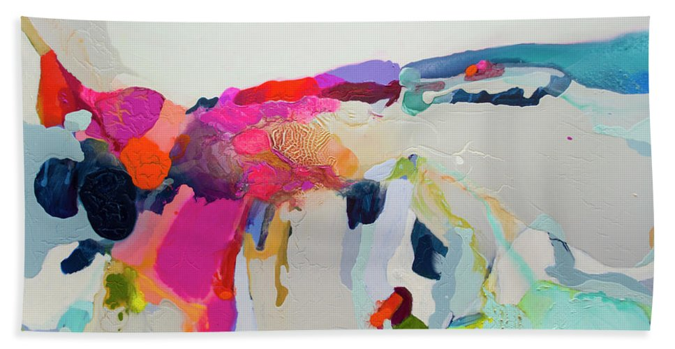 Abstract Bath Towel featuring the painting Reach In Reach Out by Claire Desjardins