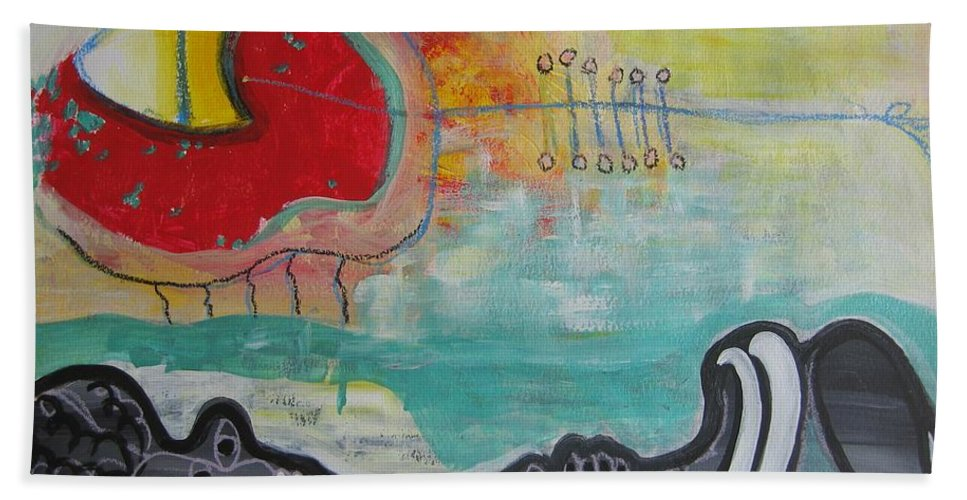 Red Paintings Bath Towel featuring the painting Read My Mind1 by Seon-Jeong Kim